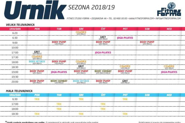 URNIK SKUPINSKE VADBE 2018/2019